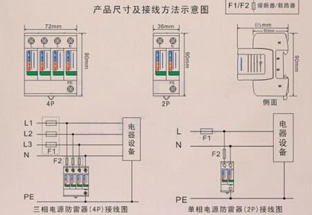 二,三级雷电防护,并联安装在建筑物配电箱或机房的电源进线端,配35mm